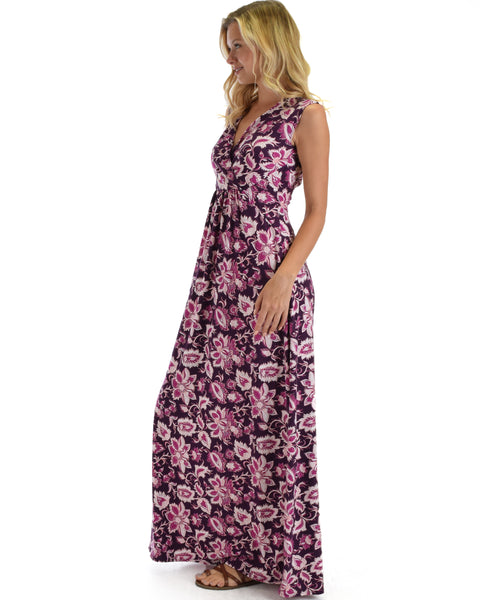 Lyss Loo Sweetest Kiss Sleeveless Yummy Floral Magenta Maxi Dress