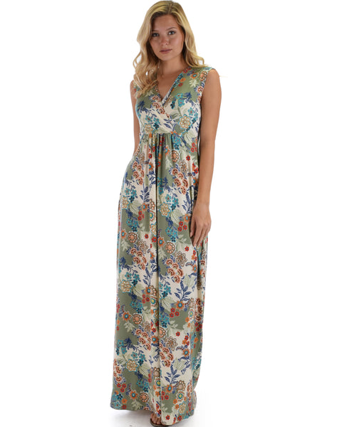 Lyss Loo Sweetest Kiss Sleeveless Yummy Floral Olive Maxi Dress
