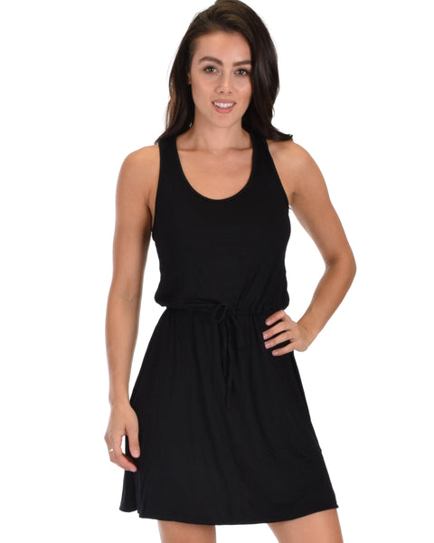 At Ease Waist Tie Black Tank Dress