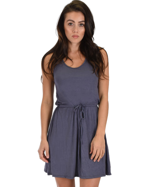 At Ease Waist Tie Charcoal Tank Dress