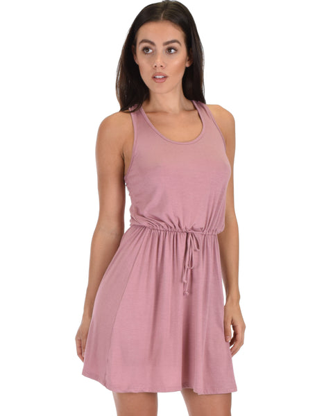 At Ease Waist Tie Mauve Tank Dress
