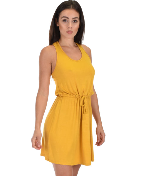 At Ease Waist Tie Mustard Tank Dress
