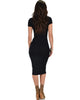 Along The Lines Bodycon Black Midi Dress - Back Image