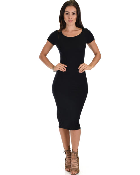 Along The Lines Bodycon Black Midi Dress