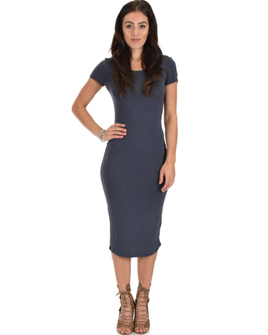 Along The Lines Bodycon Charcoal Midi Dress