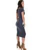 Along The Lines Bodycon Charcoal Midi Dress - Side Image