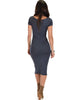 Along The Lines Bodycon Charcoal Midi Dress - Back Image