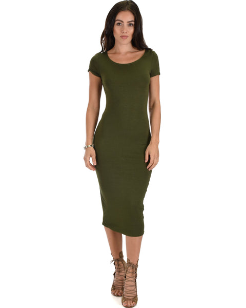Along The Lines Bodycon Olive Midi Dress