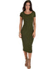 Along The Lines Bodycon Olive Midi Dress - Main Image