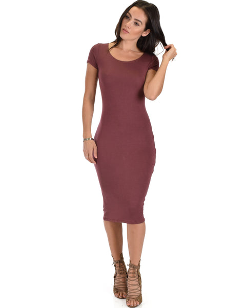 Along The Lines Bodycon Marsala Midi Dress