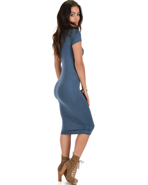 Along The Lines Bodycon Teal Midi Dress