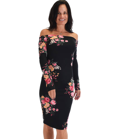 Lyss Loo Women's Love Poem Off The Shoulder Black Floral Bodycon Dress