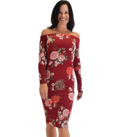Lyss Loo Women's Love Poem Off The Shoulder Burgundy Floral Bodycon Dress