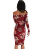 Lyss Loo Women's Love Poem Off The Shoulder Burgundy Floral Bodycon Dress - Lyss Loo