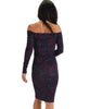 Lyss Loo Women's Love Poem Off The Shoulder Purple Leopard Bodycon Dress - Lyss Loo
