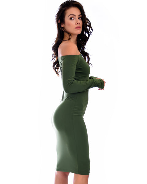 Bold Move Off The Shoulder Bodycon Olive Midi Dress