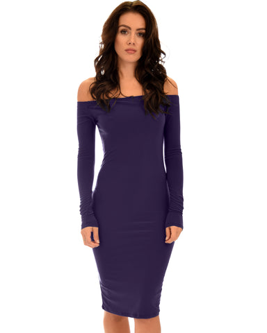 Bold Move Off The Shoulder Bodycon Purple Midi Dress
