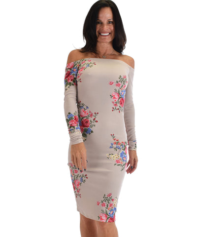 Lyss Loo Women's Love Poem Off The Shoulder Taupe Floral Bodycon Dress