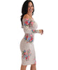 Lyss Loo Women's Love Poem Off The Shoulder Taupe Floral Bodycon Dress - Lyss Loo
