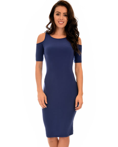 Love Me Completely Cold Shoulder Navy Bodycon Midi Dress