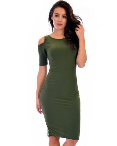 Love Me Completely Cold Shoulder Olive Bodycon Midi Dress