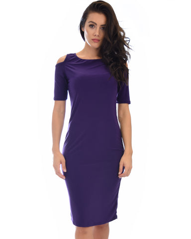 Love Me Completely Cold Shoulder Purple Bodycon Midi Dress