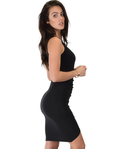 Take Me Out Ruched Bodycon Black Midi Dress