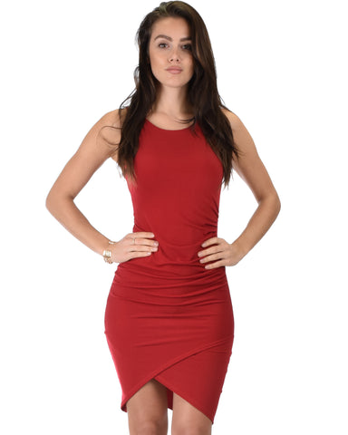 Take Me Out Ruched Bodycon Burgundy Midi Dress