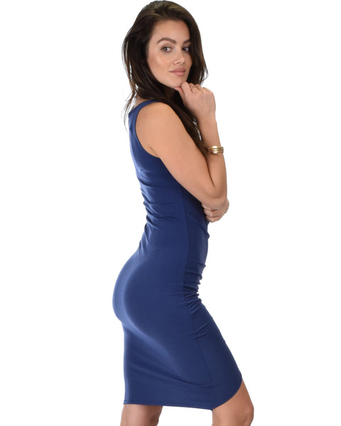 Take Me Out Ruched Bodycon Navy Midi Dress