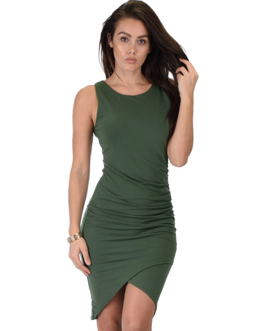 Take Me Out Ruched Bodycon Olive Midi Dress