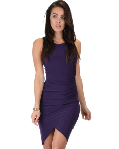 Take Me Out Ruched Bodycon Purple Midi Dress