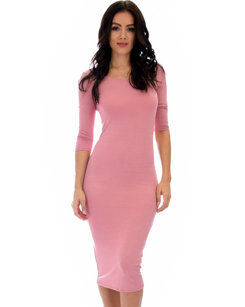 True 2 You 3/4 Sleeve Mauve Bodycon Midi Dress