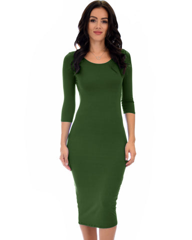 True 2 You 3/4 Sleeve Olive Bodycon Midi Dress