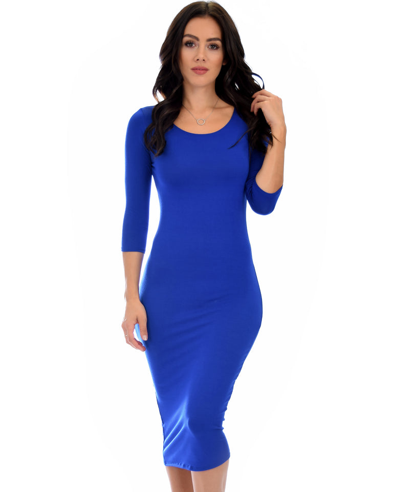0a4b20fe6ab3 Lyss Loo True 2 You 3/4 Sleeve Royal Bodycon Midi Dress