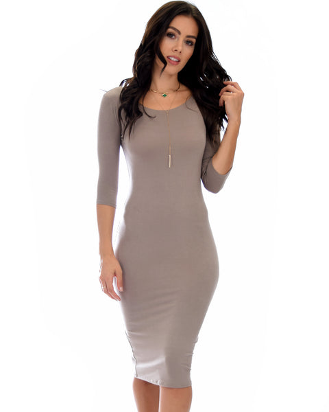 True 2 You 3/4 Sleeve Taupe Bodycon Midi Dress