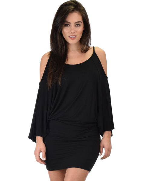 Game Changer Cold Shoulder Black Dolman Dress