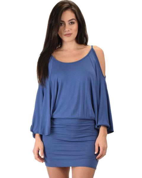 Game Changer Cold Shoulder Blue Dolman Dress