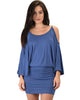 Game Changer Cold Shoulder Blue Dolman Dress - Main Image