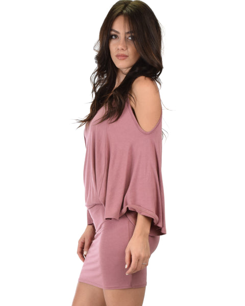 Game Changer Cold Shoulder Mauve Dolman Dress