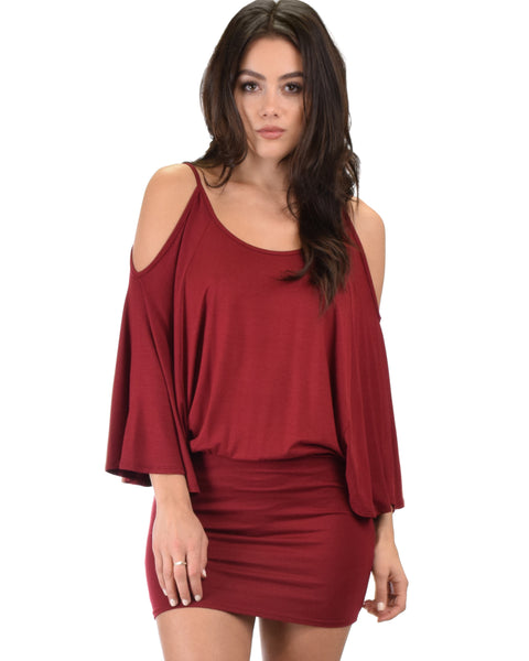 Game Changer Cold Shoulder Burgundy Dolman Dress