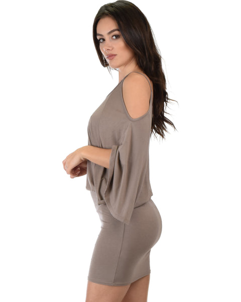 Game Changer Cold Shoulder Taupe Dolman Dress