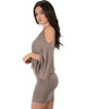 Game Changer Cold Shoulder Taupe Dolman Dress - Side Image