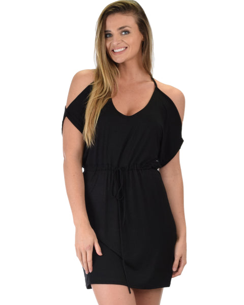 Good Deeds Cold Shoulder Black Waist Tie Dress