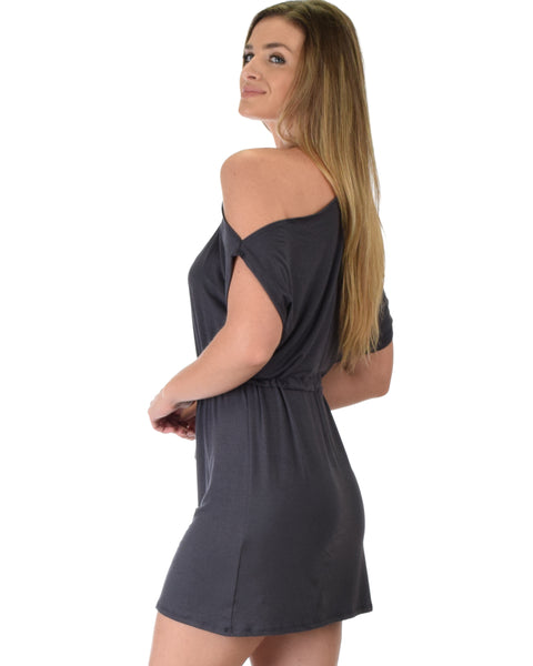 Good Deeds Cold Shoulder Charcoal Waist Tie Dress