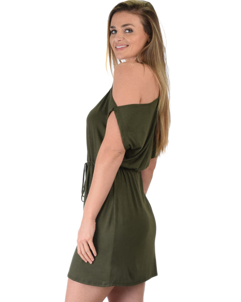 Good Deeds Cold Shoulder Olive Waist Tie Dress