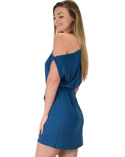 Good Deeds Cold Shoulder Teal Waist Tie Dress