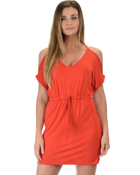 Good Deeds Cold Shoulder Rust Waist Tie Dress
