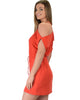 Good Deeds Cold Shoulder Rust Waist Tie Dress - Side Image