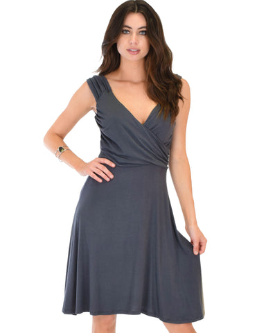 Little Lover Ruched Charcoal Skater Dress