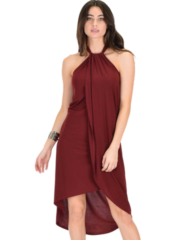 Wrap Star Halter Burgundy Midi Wrap Dress